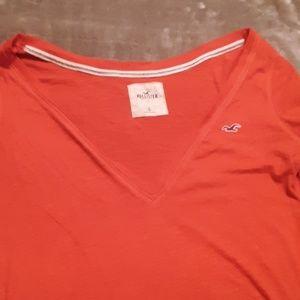 Hollister red vneck tshirt